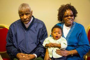 Great Grandpa Eddie (Papa Eddie's Dad) and GG Hallie (Papa Cecil's Mom) at Quinn's first Birthday