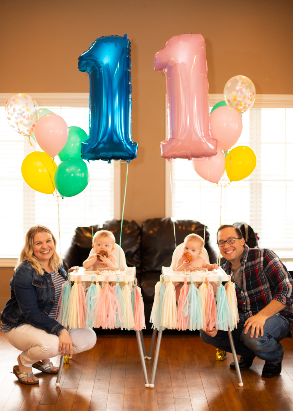 Lindsay Fischer with her husband and her IVF twins, Luke and Joey.