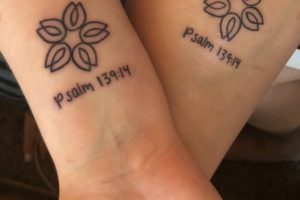 "May 25, 2018 my husband and I got tattoos to support Maddie.  Psalm 139:14 ""I praise you because I am fearfully and wonderfully made; your works are wonderful, I know that full well."""