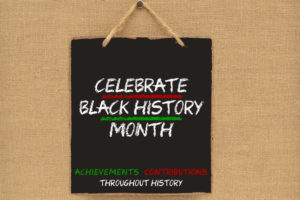 black square celebrate black history month sign with with white letters on a canvas background