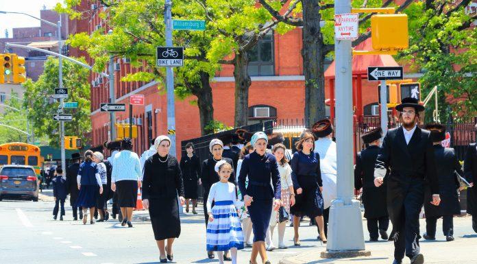 a Jewish neighborhood where people are walking to temple on Sabbath