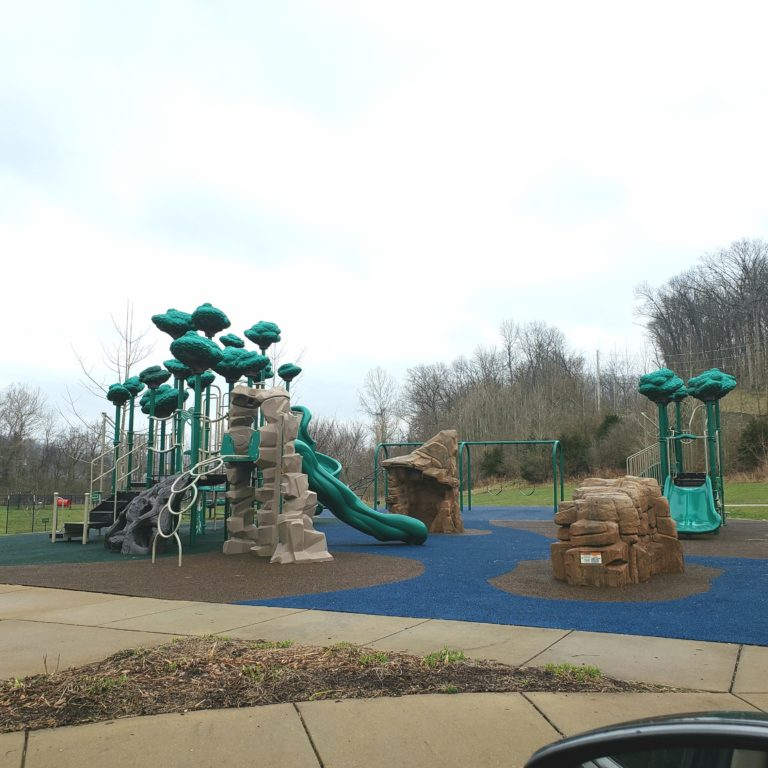 Playground with stone climbing structures and green plastic trees at Berry Park in Eureka