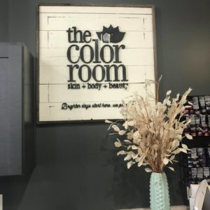 """a sign that says, """"the color room: skin + body + beauty"""" to represent a salon in Wentzville, Missouri"""