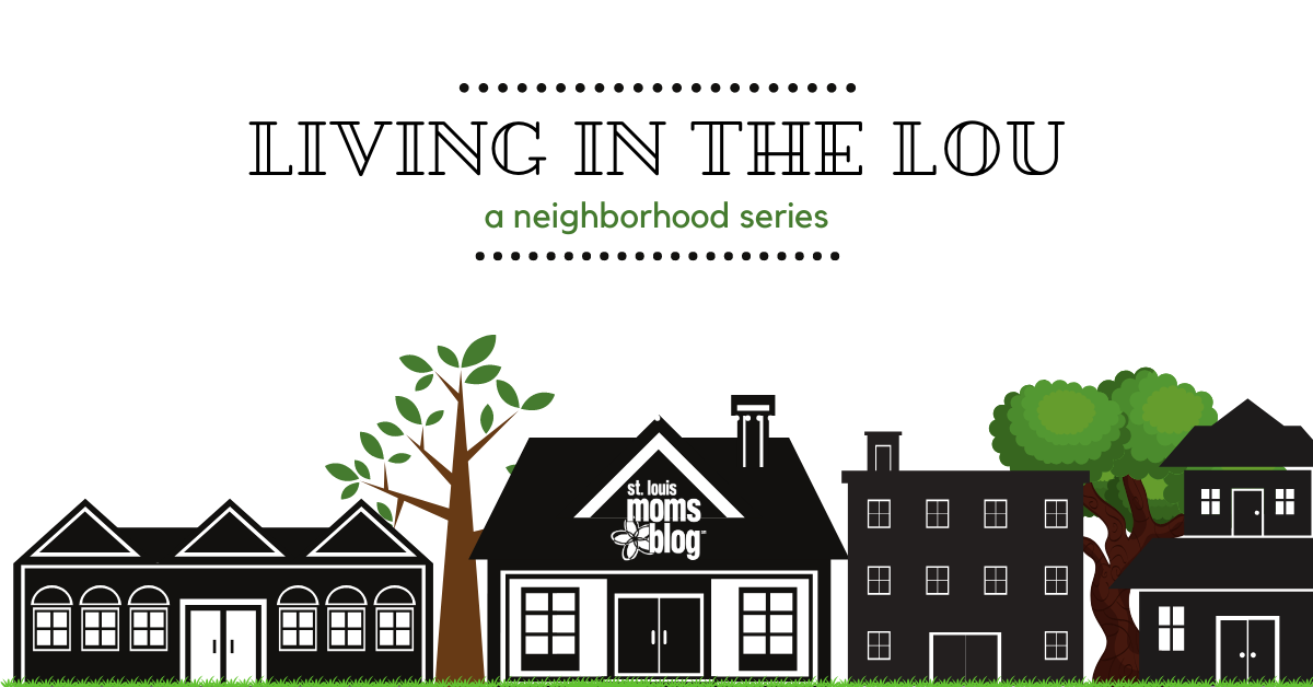 "A graphic of buildings and houses to look like a neighborhood with the words, ""Living in the Lou, A Neighborhood Series"" across the top"