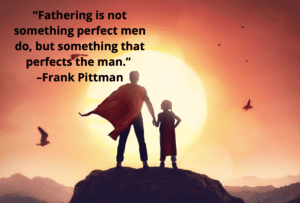 A father in a superhero cape standing on a rock, holding a child's hand as the sun sets.
