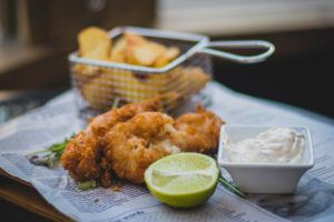 fish fry with a lime and tartar sauce