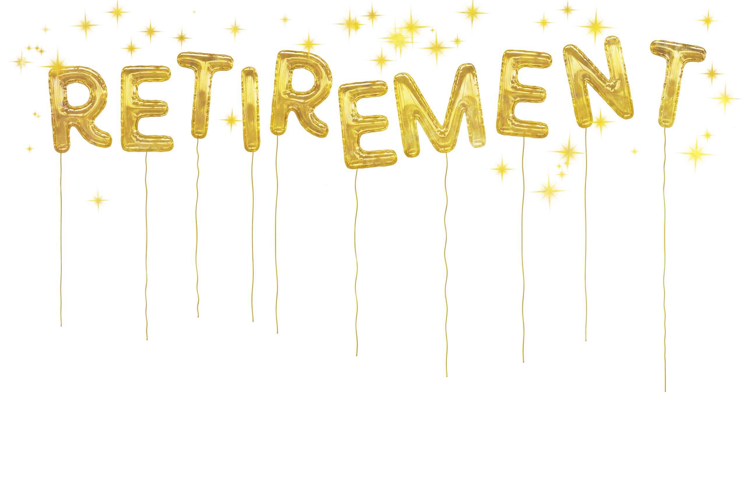 gold retirement foil balloons on a white background