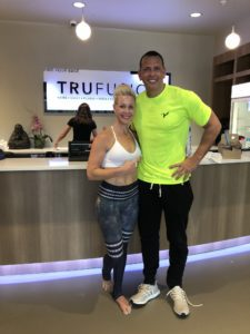 Amy Lescher at TruFusion with Alex Rodriguez