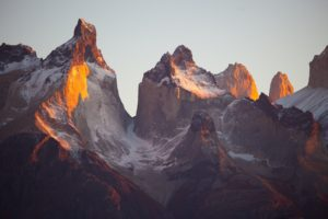 Jagged mountain peaks from a distance