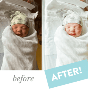 Identical side-by-side photos of a newborn baby, one with free photo editing added to enhance the photo