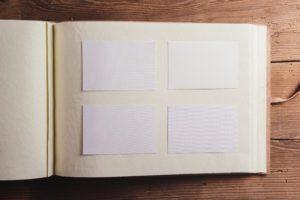 an empty photo album page void of memories