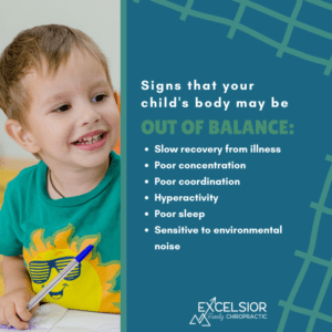 a smiling child next to a list of signs that a child may need to see a chiropractor
