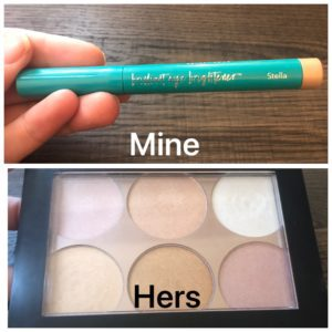 a side by side photo of highlighting make-up, one in a stick and one in a palette