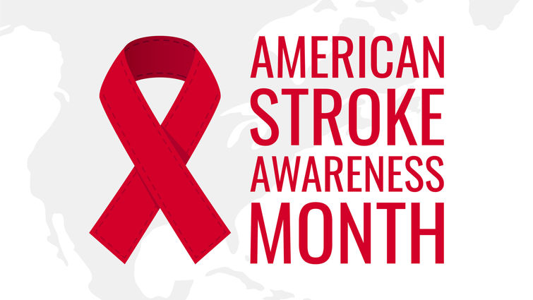 American Stroke Awareness Month logo with a red ribbon