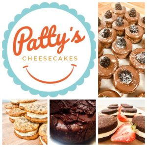 a variety of cheesecake flavored treats with Patty's Cheesecakes logo
