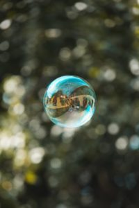 a bubble floating in the air representing how sheltered we are when we don't have a diverse media diet