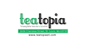 logo for teatopia, a local st. louis area restaurant and tea shop