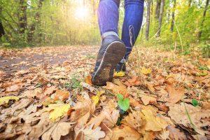 tennis shoe clad feet walking down a leaf strewn path
