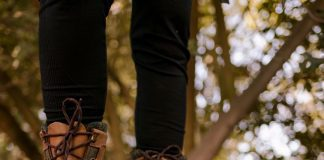 a close up of hiking boots on a trail