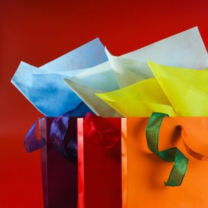 a purple, red, and orange gift bag with different coloured tissue paper lined up against a red background