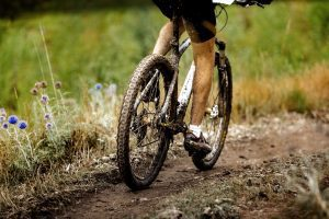 a close up of bike wheels on a muddy trail as a cyclist goes for a ride