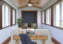 a sunroom turned into a home office with the help of an online design service