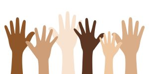 six hands raised, each a different skin tone