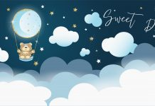 "a cartoon teddy bear floating in a hot air balloon up in the clouds with the words, ""Sweet Dreams"""