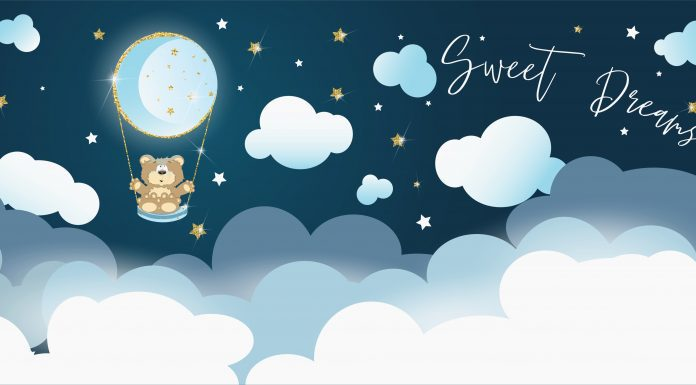 """a cartoon teddy bear floating in a hot air balloon up in the clouds with the words, """"Sweet Dreams"""""""