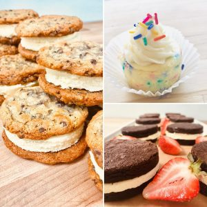 a collage of cheesecake desserts including chocolate chip cookies stuffed with cheesecake