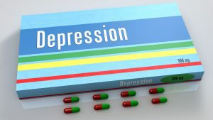 a light blue box with red, yellow, and green stripe and the word DEPRESSION across the front, with 8 pills lined up next to it