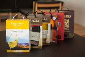 various boxed wines on a tabletop