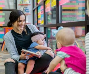 moms with their babies at storytime