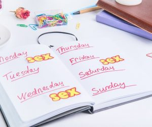 """A weekly planner with the word """"sex"""" scheduled three times that week."""
