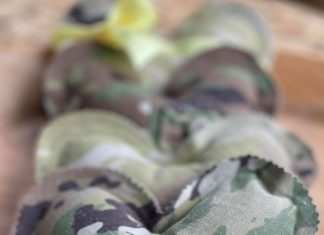 little stuffed hearts made from camouflage military fatigues