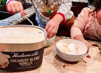 Kids making sundaes with Hudsonville Ice Cream