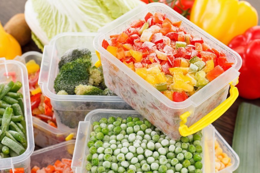 fruits and vegetables in freezer safe containers as they are frozen