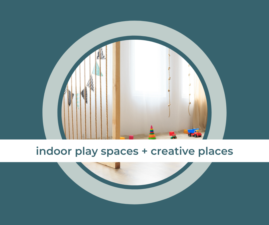 """a play area with the title, """"indoor play spaces & creative places"""" across the middle"""