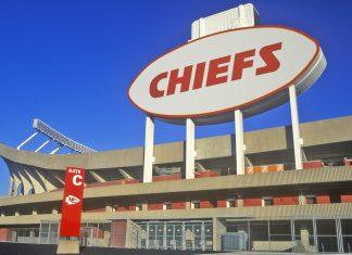 a close up of Arrowhead Stadium, where the Kansas City Chiefs play football