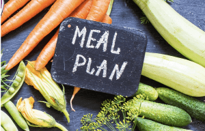 """the words """"meal plan"""" written with chalk on a small slate on a counter full of vegetables"""