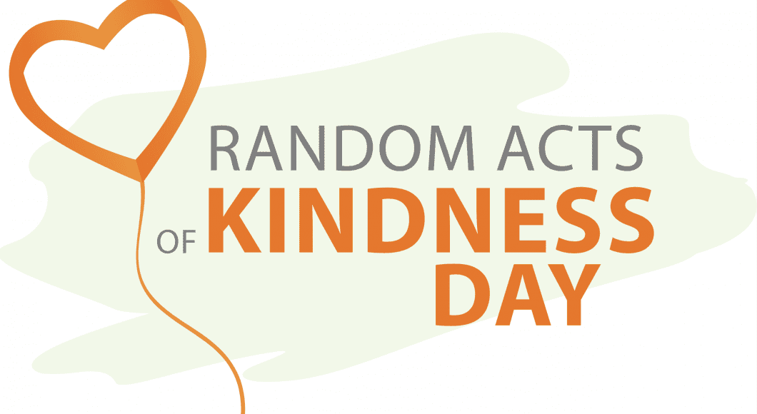 """a heart shaped balloon illustration next to the words, """"Random Acts of Kindness Day"""""""