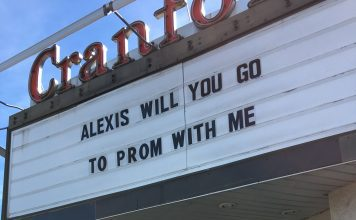 """a promposal movie theater marquee that says, """"Alexis will you go to prom with me"""""""