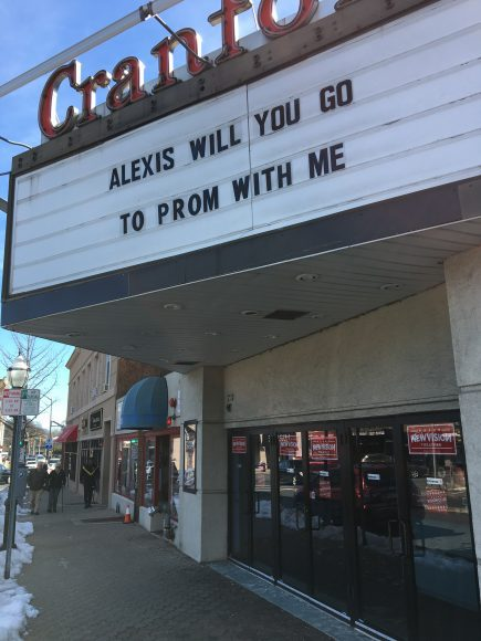 "a promposal movie theater marquee that says, ""Alexis will you go to prom with me"""