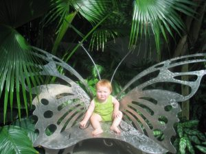 a baby sitting on a butterfly metal bench at the Butterfly House in St. Louis