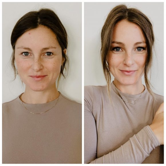 before and after photo of a woman without makeup and with makeup and clean skincare