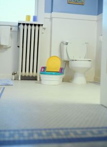 a potty training seat next to a toilet in a blue and white bathroom