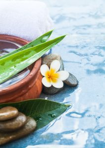 a soothing scene of flowing water, stones, and flowers to symbolize a massage set up