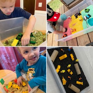a collage of sensory bins for autism awareness month
