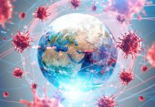 a globe surrounded by the coronavirus conveying the worldwide pandemic