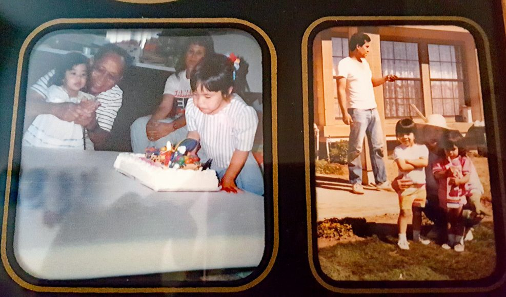 a birthday celebration (left), helping in the garden (right)